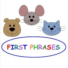 bear, mouse and cat cartoon with words: first phrases